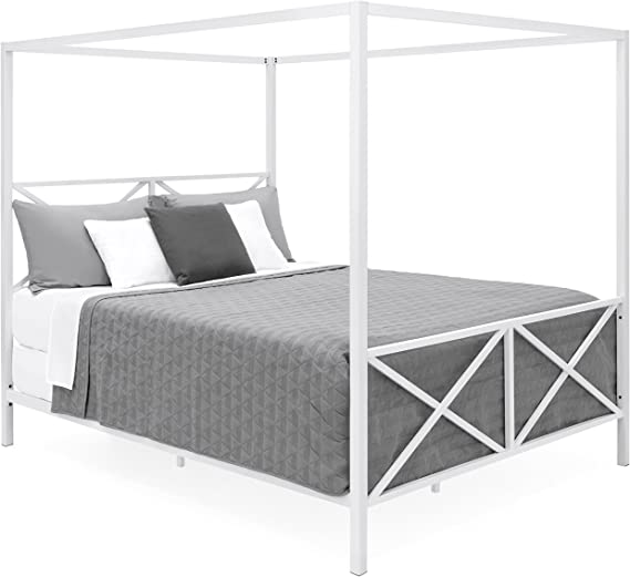 Best Choice Products Modern 4 Post Canopy Queen Bed w/Metal Frame