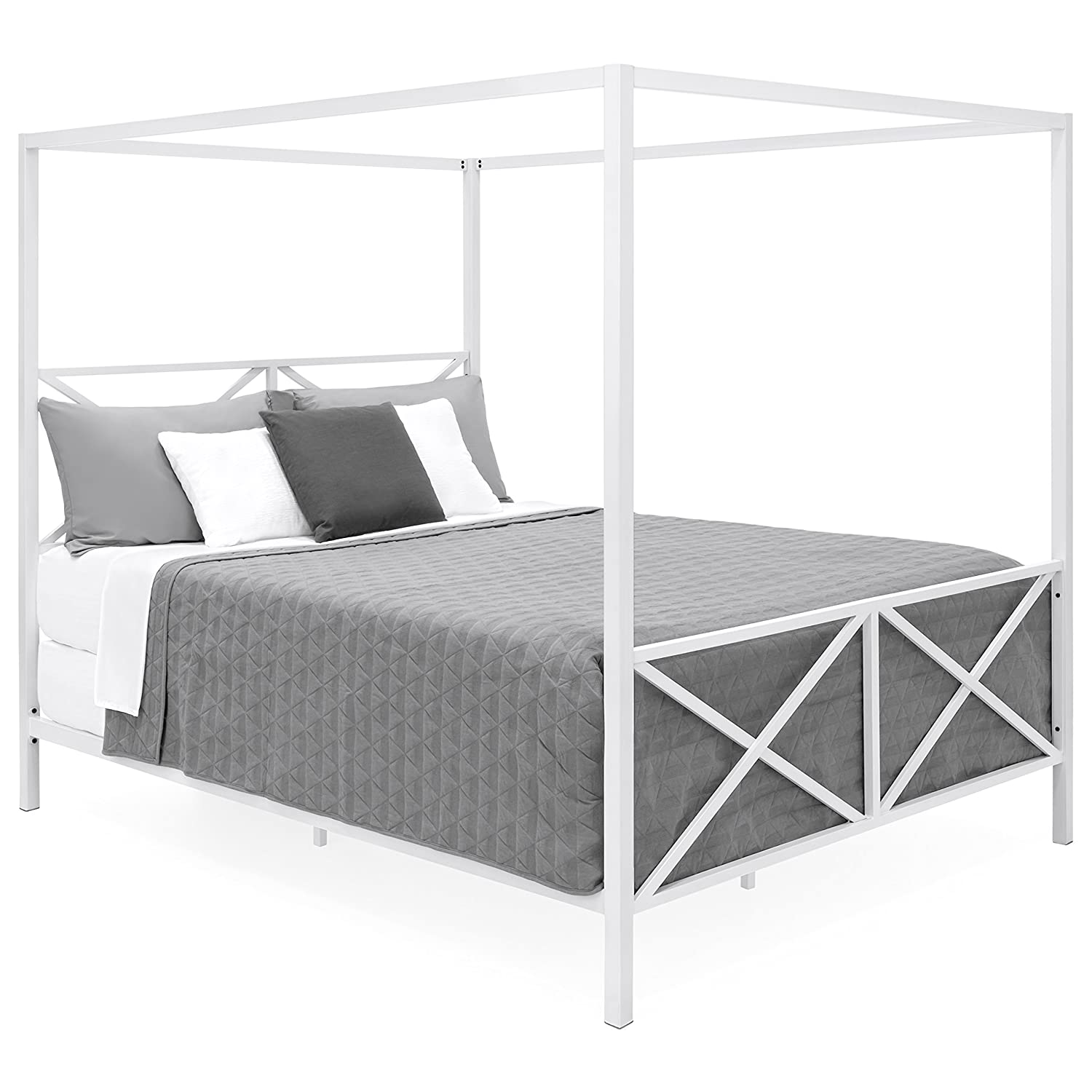 Best Choice Products Modern 4 Post Canopy Queen Bed w Metal Frame, Mattress Support, Headboard, Footboard – White