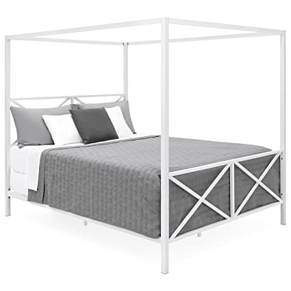 Amazon.com: Best Choice Products Modern 4 Post Canopy Queen Bed w