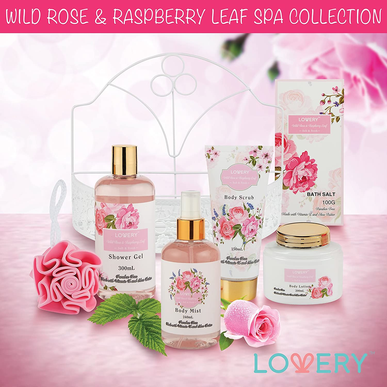 Amazon.com : Home Spa Gift Basket - Wild Rose & Raspberry Leaf Scent ...