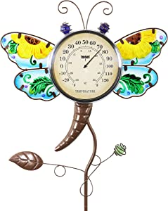 """Exhart Dragonfly Thermometer Garden Stake – Dragonfly Decor w/Yellow Flower Glass Wings - Charming Garden Temperature Gauge Decorative Outdoor Thermometer for The Garden, Yard & Patio, 13 x 36"""""""