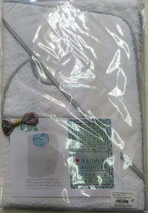 Capa de Baño y Babero de Punto De cruz en Blanco cielo y con hilos(