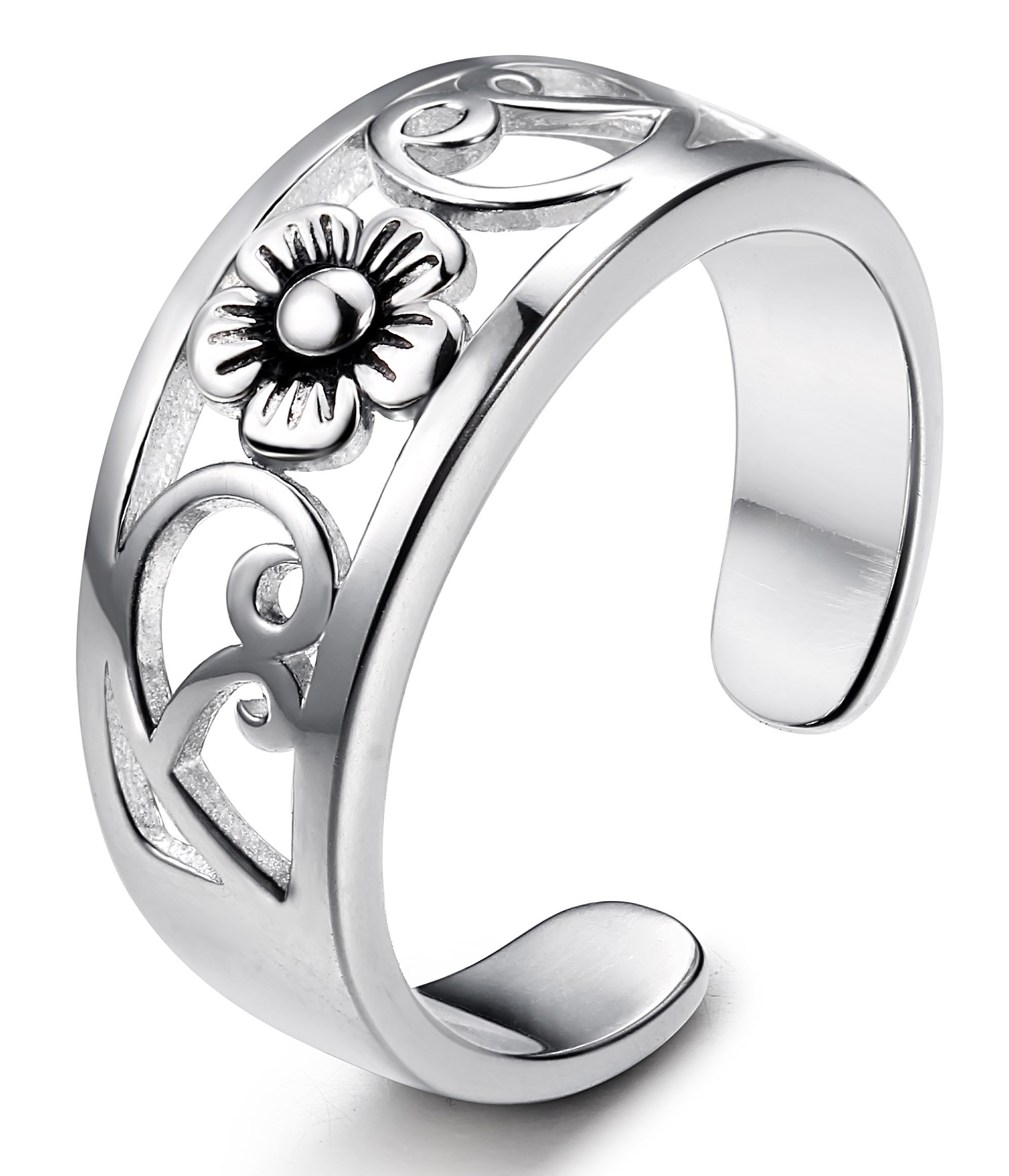 FUNRUN JEWELRY Sterling Silver Flower Toe Band Ring for Women Adjustable
