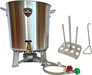 High Performance Cooker - 60 Quart Turkey Fryer Pot with Drain Valve, Lid, and Turkey Rack - Made from 4mm Heavy Duty Aluminum - Less Propane Usage and Faster Cooking
