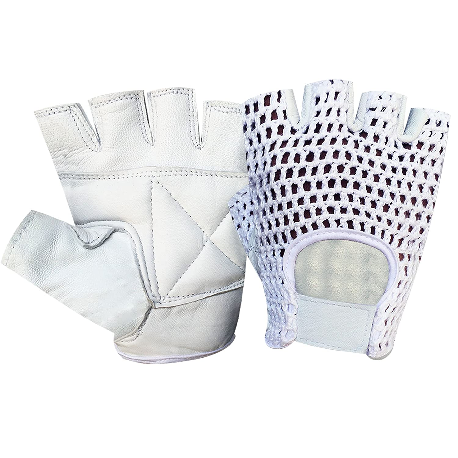 Bus Driving Leather Padded Gloves Gym Weight Lifting Exercise Fitness Training