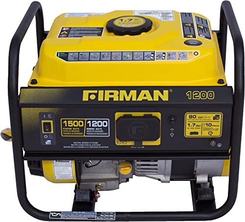 Firman P01201 1500 1200 Watt Recoil Start Gas Portable Generator cETL and CARB Certified, Black