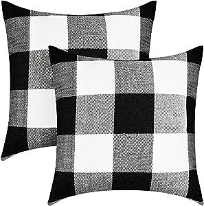 VIS'V Buffalo Check Plaid Throw Pillow Covers, Set of 2 Linen Square Farmhouse Decorative Couch Pillow Covers 18 x 18 Inch Checkered Cushion Covers for Porch Farmhouse Decor - Black and White