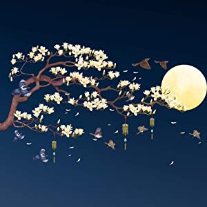 Amaonm Chinese Style Yellow Flowers Brown Tree and Flying Birds Moon Wall Stickers Removable DIY Wall Art Decor Decals Murals for Offices Home Walls Bedroom Study Room Wall Decaoration