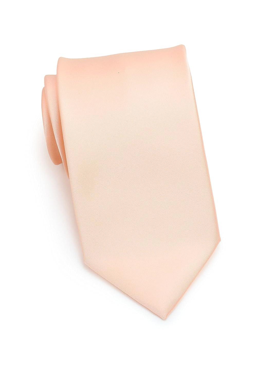 CANTUCCI Lachsfarbene Krawatte, 100% italienische Mikrofaser, einfarbig Rosa / Rose, 8 cm breite Herrenkrawatte, Handarbeit KGM0981