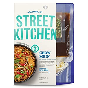 Street Kitchen 11 oz, Chinese Chow Mein Noodle Kit, Authentic, Restaurant Quality Flavor, Three Simple Steps, Includes Noodles, Sauce, and Chow Mein Spices