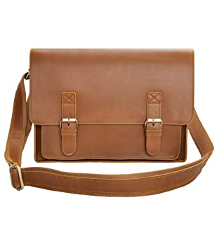 "15/"" Mens Brown messenger leather bag satchel crossbody laptop bag briefcase"
