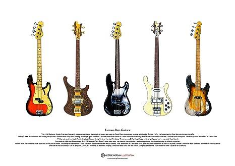George Morgan Illustration Famosas Guitarras Bajas (#2) Arte del Cartel de tamaño A3