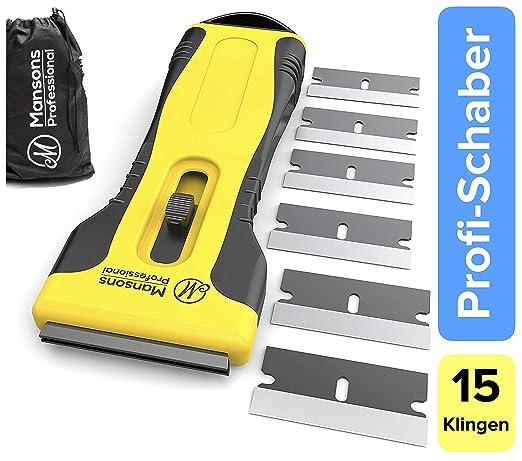 Desbarbador para vidriocerámica premium con 14 cuchillas de repuesto y práctica funda. Rasqueta para cristal