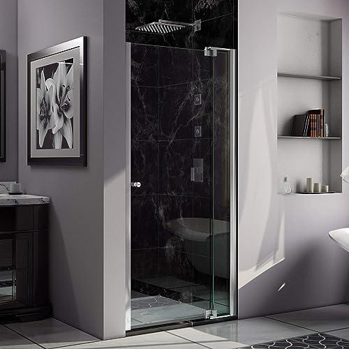 DreamLine Allure 36-37 in. W x 73 in. H Frameless Pivot Shower Door in Chrome, SHDR-4236728-01