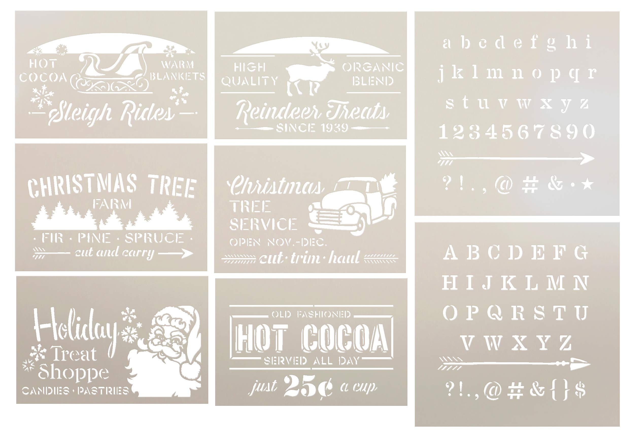 Christmas 8 Part Stencil Set by StudioR12   Santa Claus Reindeer Hot Cocoa Tree   Reusable Mylar Template   Paint Wood Signs   Craft Winter Holiday Home Decor   DIY Gift - Scrapbooking - Journaling