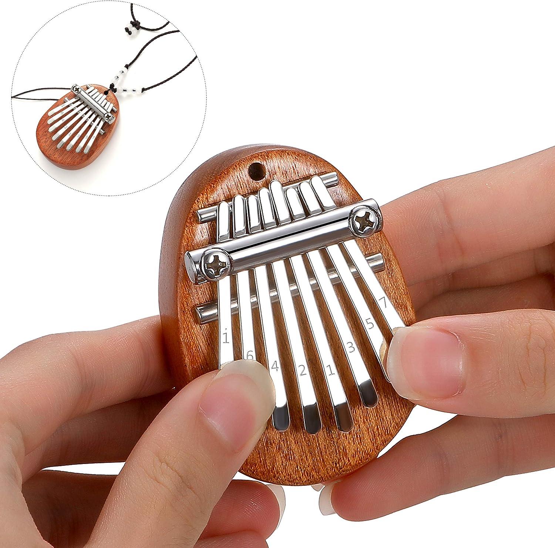 XHXseller 8 Key Thumb Piano,Pocket Thumb Finger Piano,Beginners Musical Mini Kalimba,Christmas Birthday Present Gifts for Beginner and Music Lover,Dark Brown