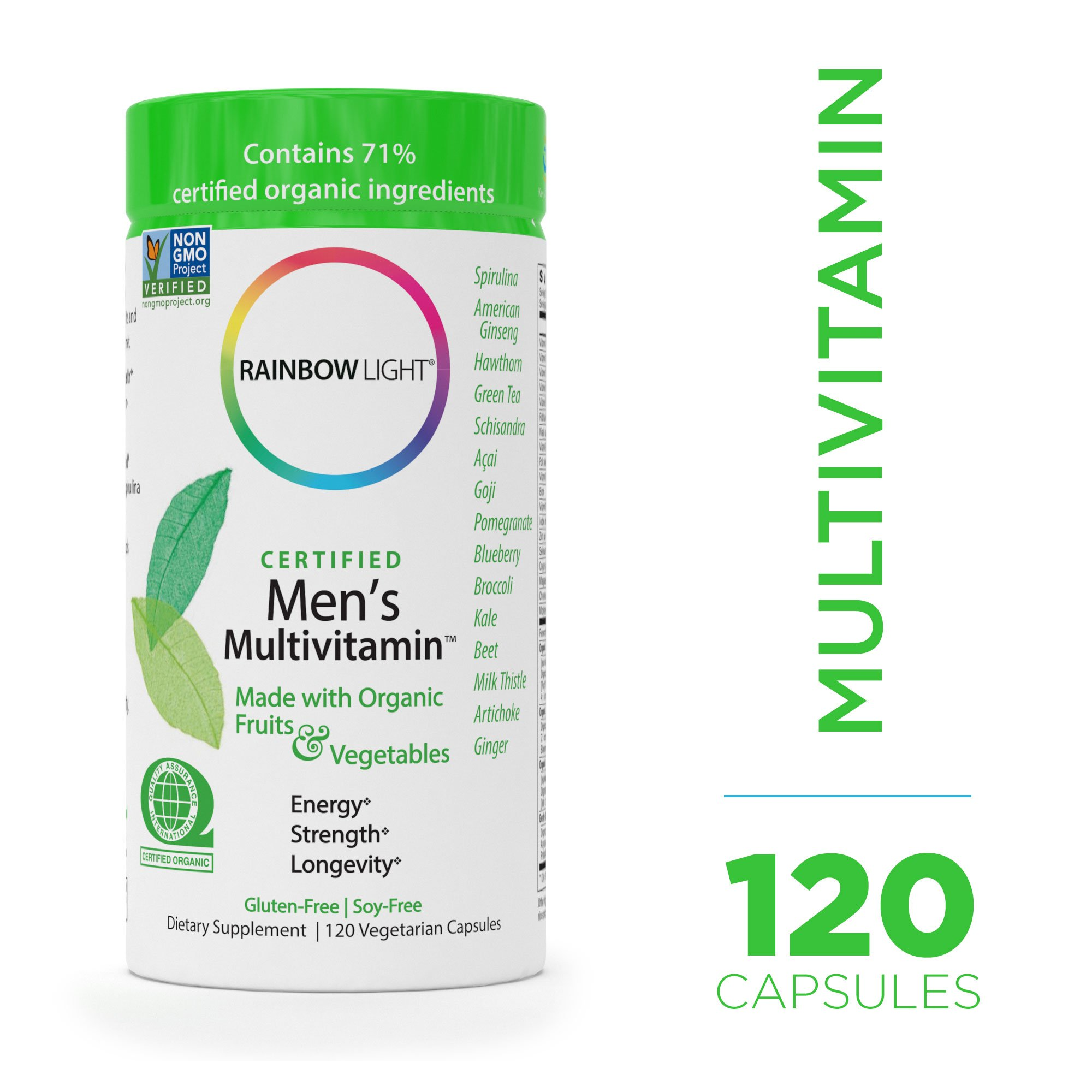 Rainbow Light - Certified Men's Multivitamin - Certified Organic, Provides Probiotic and Antioxidant Support, Supports Energy, Liver Health, and Digestion in Men; Gluten-Free - 120 vCaps