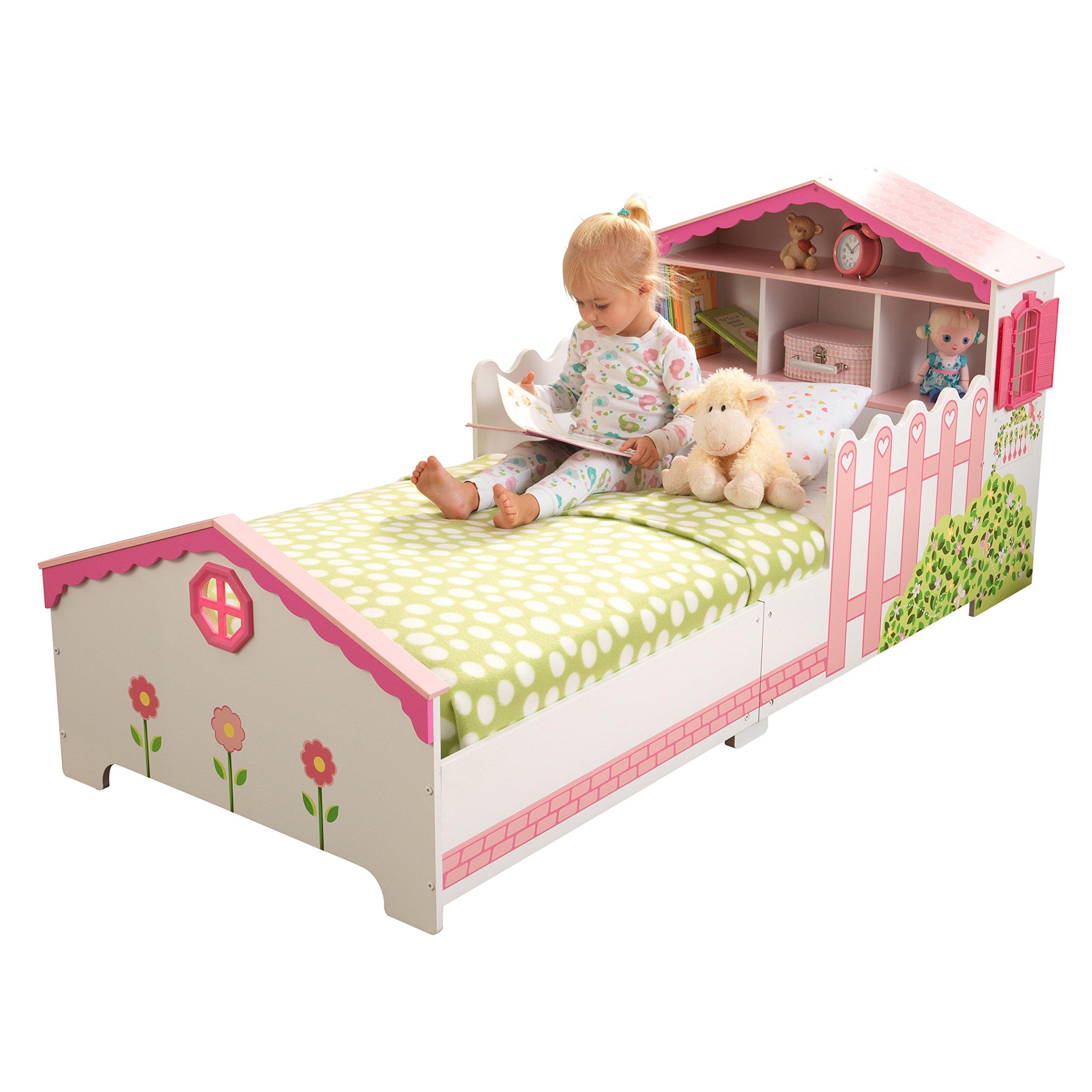 KidKraft 76255 Cama infantil con diseño casa de muñecas con marco de madera, muebles para