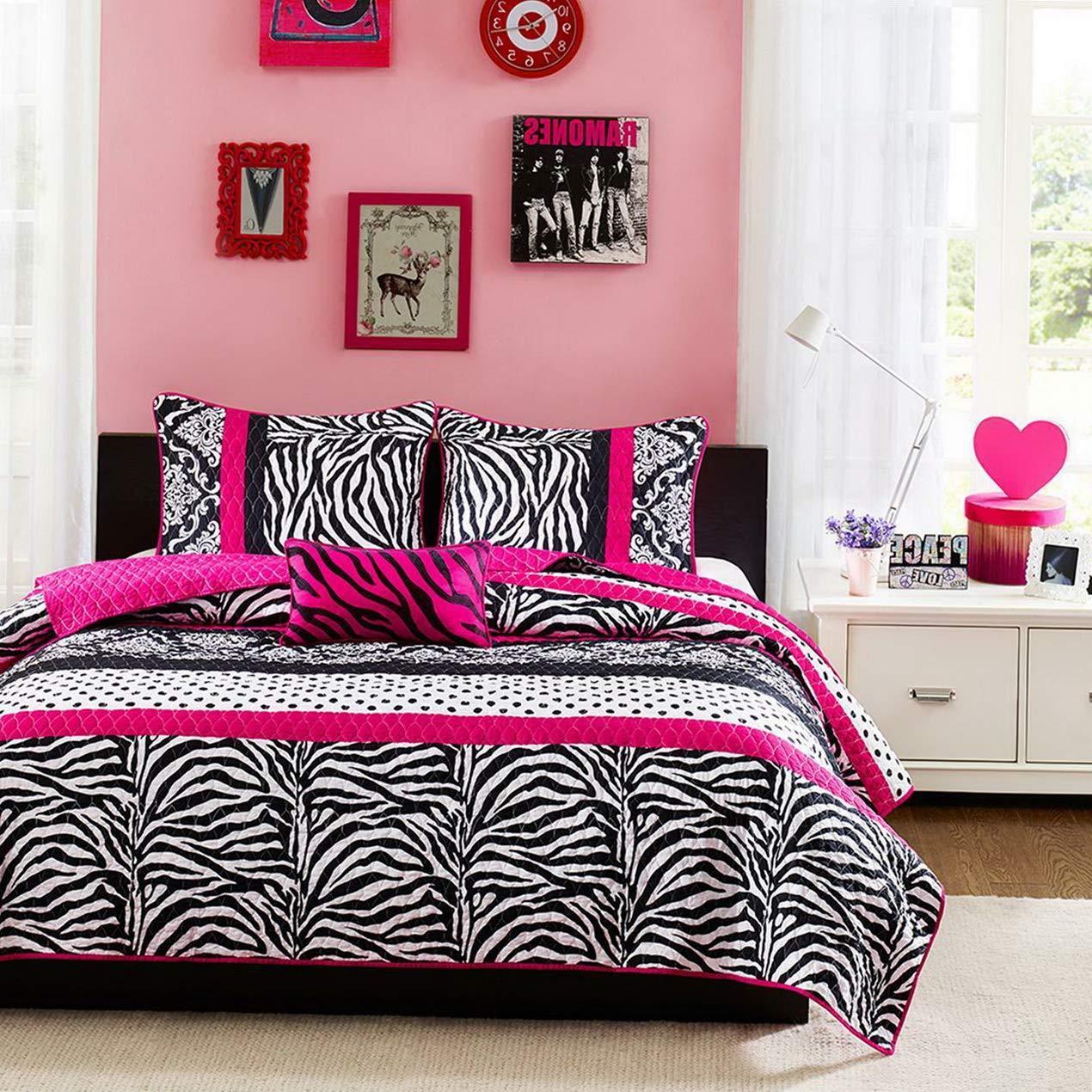 Kaputar Modern Chic Girl HOT Pink Black Zebra Stripe Polka DOTS Quilt Set Pillow | Model CMFRTRSTS - 2836 | Twin by Kaputar (Image #1)