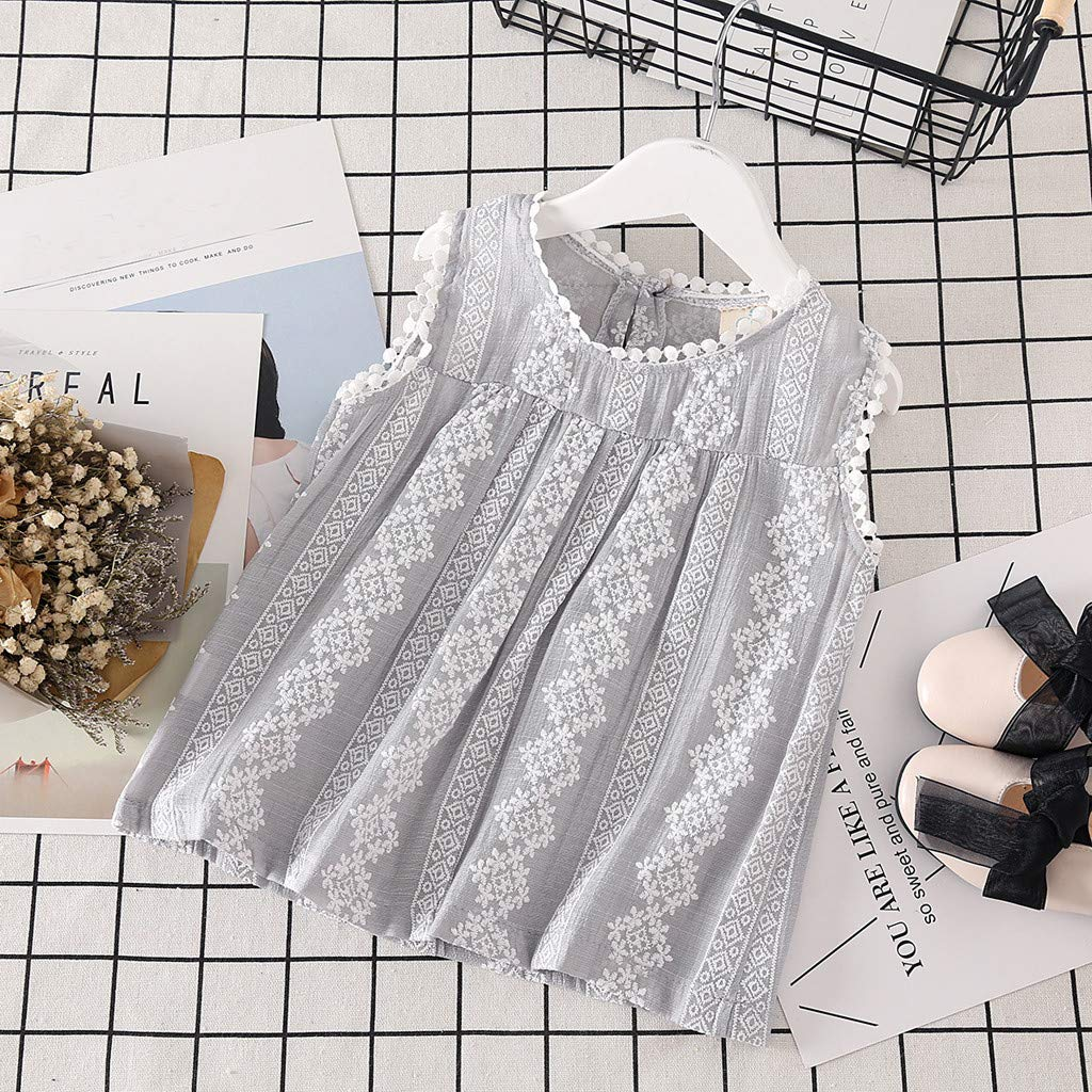 Baby Girl Tops Short Sleeve Toddler Kids Solid Lace Patchwork Tops Vest Casual Clothes