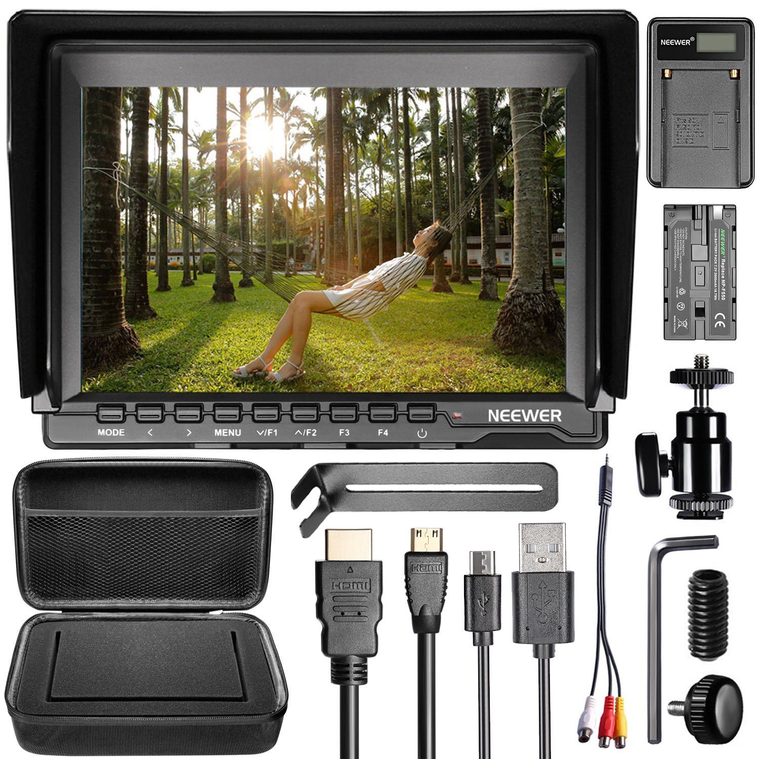 Neewer NW759 Camera Field Monitor Kit:7 inches Ultra HD 1280x800 IPS Screen Field Monitor+F550 Replacement Battery+Micro USB Battery Charger+Carrying Case for Sony Canon Nikon Olympus Pentax Panasonic by Neewer