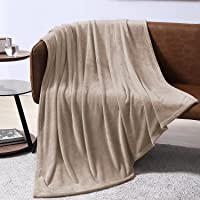 EXQ Home Fleece Blanket Twin Size Beige Throw Blanket for Couch or Bed - Microfiber Fuzzy Flannel Blanket for Adults or…