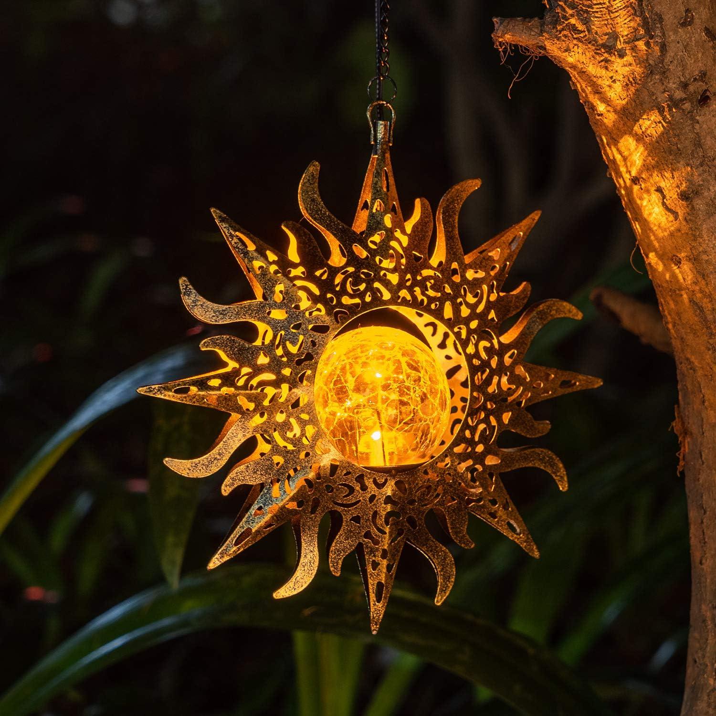 Amugmilk Hanging Solar Lights Outdoor Decorative Lantern,Garden Waterproof Sunflower Metal LED Lamp for Walkway,Yard,Lawn,Patio Decor