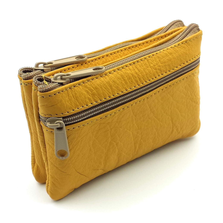 FJR-ArtPiel - Monedero, tarjetero doble bolsillo con 3 cremalleras y llavero interior Piel Ubrique - Alta Calidad - Amarillo