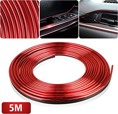 5M Car Atuo Interior Exterior Trim Moulding Strip Gap Decorative Line Chrome Red