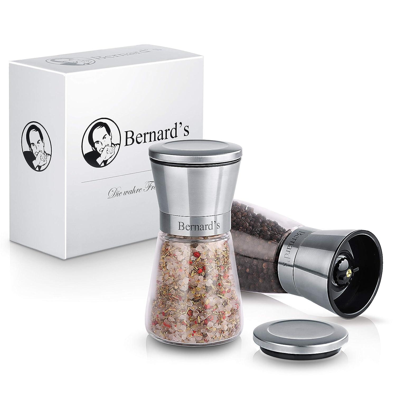 Bernard/'s/® Salz und Pfeffer M/ühle aus deutsch-franz/ösischer Hand inklusive Gourmet-Kochbuch stilvolle Chilim/ühle Elegantes Gew/ürzm/ühlen Set mit verstellbarem Keramikmahlwerk