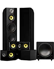 Fluance Signature Series Surround Sound Home Theater 5.1 Channel Speaker System Including Three-Way Floorstanding, Center, Bi-Polar Speakers, and DB12 Subwoofer - Black Ash (HF51BB)