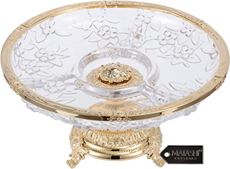 Matashi Crystal 3 Sectional Compote Decorative Bowl Round Serving Platter For Weddings Parties Tabletop Stand For Cakes Desserts Salad Candy Gold Kitchen Dining