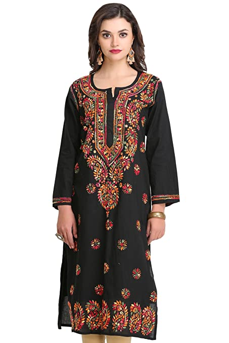 ADA Hand Embroidered Lucknow Chikan Regular Wear Cotton Kurti Kurta (A188048_Black) Women's Kurtas & Kurtis at amazon
