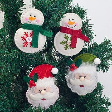 Amazon GMOEGEFT Handmade Felt Hanging Ornaments Christmas Tree Decorations Santa Claus Pendants Home Decor Set Of 4 Kitchen