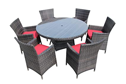 07d45592996a Image Unavailable. Image not available for. Color: Round Rattan Table Set  Patio Dining Table Set Outdoor Wicker Dining Table and Chairs RED