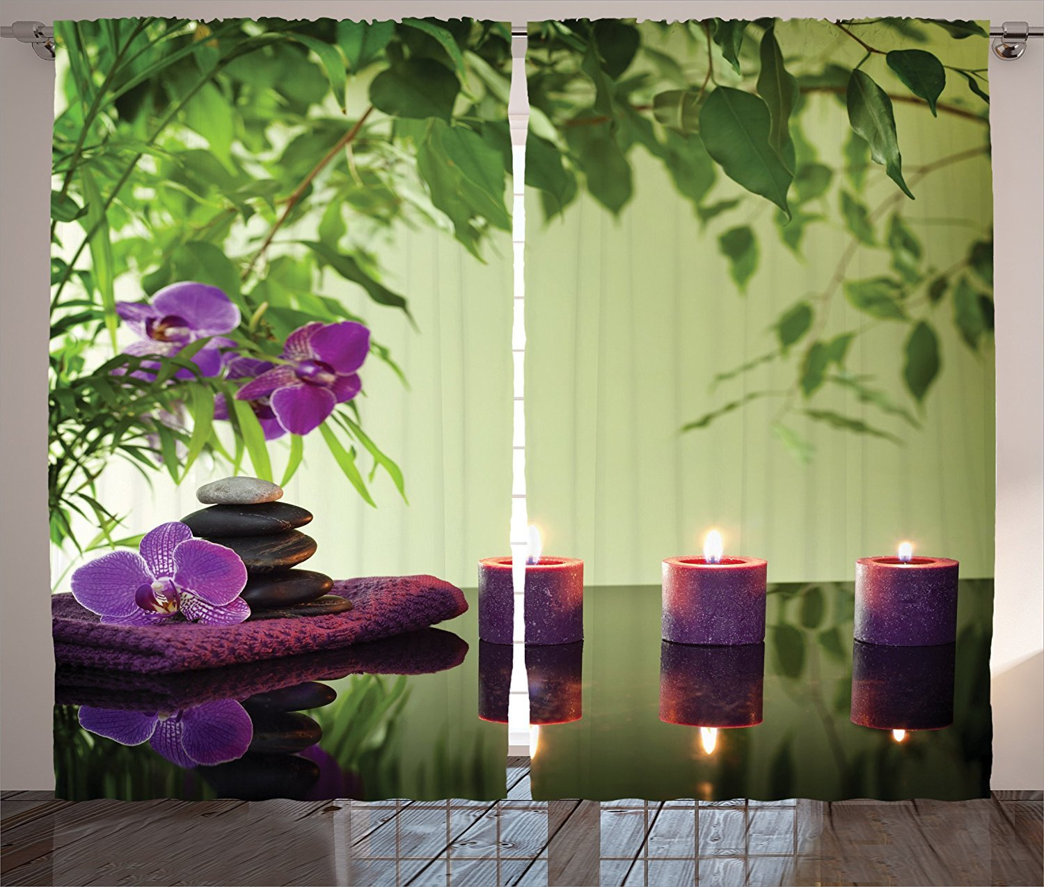 Spa Decor Curtains Zen Stones Aromatic Candles And Orchids Blooms Treatment Vacation Living Room Bedroom Decor 2 Panel Set