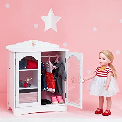 Olivia's Little World - Princess 18 inch Doll Wooden Closet with 3 Hangers, Fits American Girls, Our Generation Dolls, Doll Furniture, Accessories and Clothes Storage - White: Toys & Games