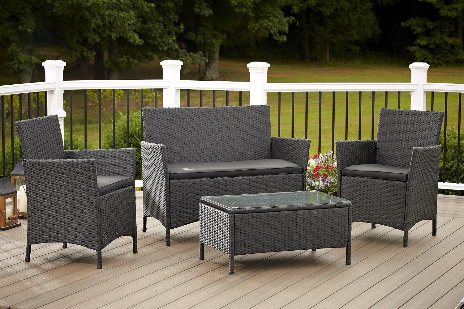 Amazon.com: Cosco Outdoor Conversation Set, 4 Piece, Black Wicker: Garden &  Outdoor - Amazon.com: Cosco Outdoor Conversation Set, 4 Piece, Black Wicker