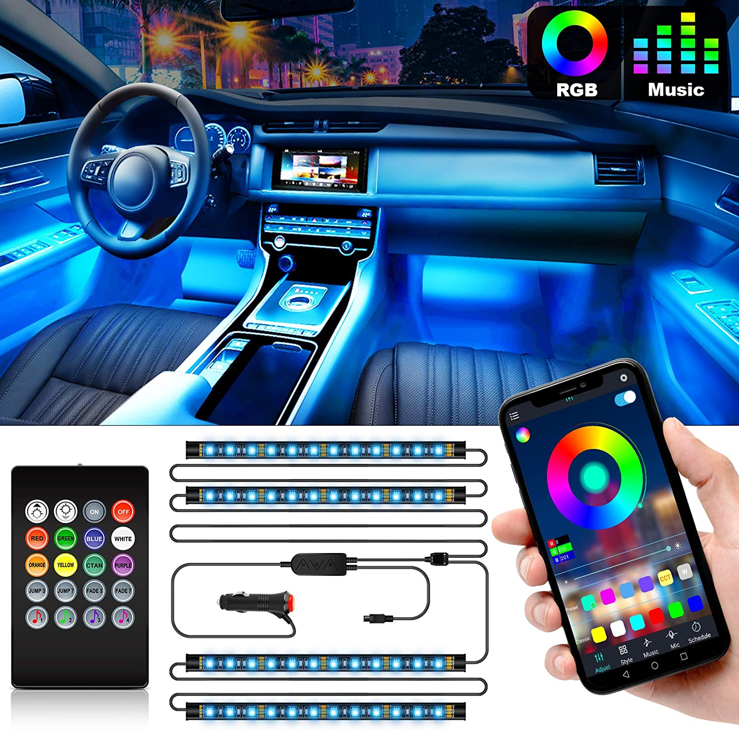 CT CAPETRONIX Interior Car Lights Car led strip lights interior with APP and IR Remote Upgrade 2-in-1 4pcs Waterproof RGB 48 LEDs Music Car LED Lights Under Dash Lighting Kit with Car Charger DC 12V