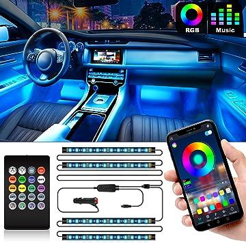DC 12V Interior Car Lights 4pcs 48 LED Car Underglow Lights APP Controller Waterproof Lighting Kits Car LED Strip Light Multi DIY Color Music Under Dash Car Lighting with Car Charger