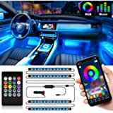 Shynerk Interior Car Lights, Car LED Strip Lights 2-in-1 Design 4pcs 48 LED Remote and APP Controller Lighting Kits…