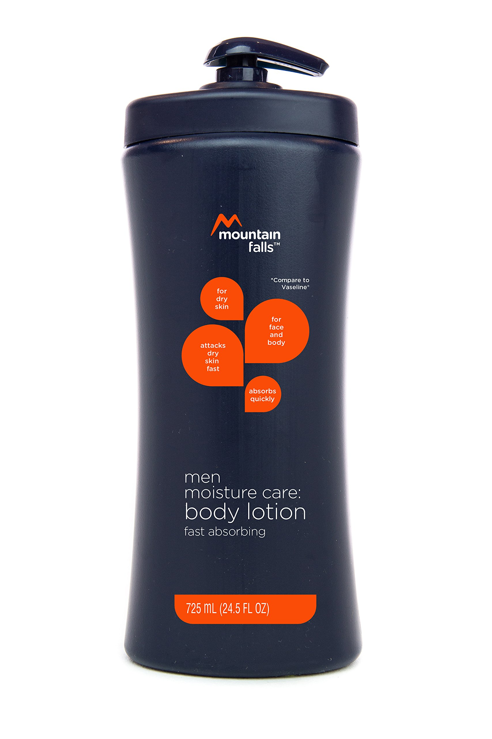 Mountain Falls Moisture Care: Men's Body Lotion, Fast Absorbing, Pump Bottle, Compare to Vaseline, 24.5 Fluid Ounce