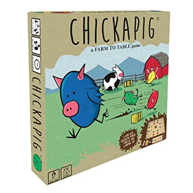 Buffalo Games Chickapig Board Game - A Strategic Board Game Where Chicken-Pig Hybrids Attempt to Reach Their Goal While Dodging Opponents, Hay Bales, and an Ever-Menacing Pooping Cow.