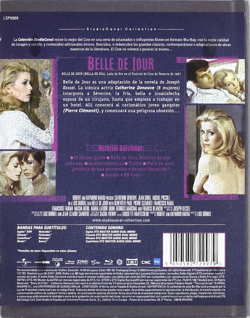 Belle de jour [Blu-ray]: Amazon.es: Catherine Deneuve, Jean Sorel, Buñuel, Luis: Cine y Series TV