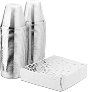 Stock Your Home Elegant Rimmed 9 Ounce Clear Plastic Tumblers and Foil Dotted Napkins - 50 Fancy Disposable Napkins and 50 Cups for Holiday Party, Wedding, Every Occasion, 100 Pack, Silver