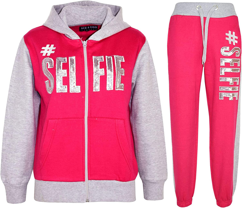 Kids Girls Tracksuit Designer #Selfie Zipped Top /& Bottom Jogging Suit 5-13 Year