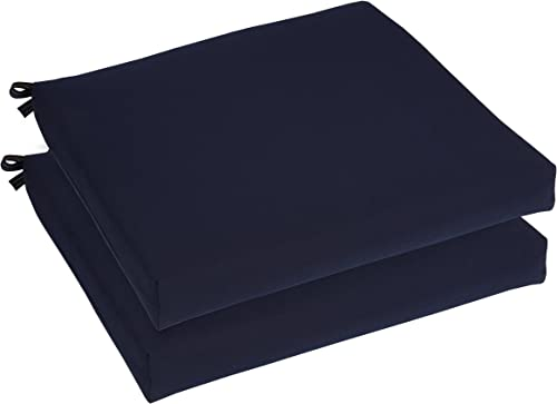 Mozaic AZCS3009 Indoor or Outdoor Sunbrella Square Chair Seat Cushions Set, Set of 2, 20 inches, Canvas Navy Blue