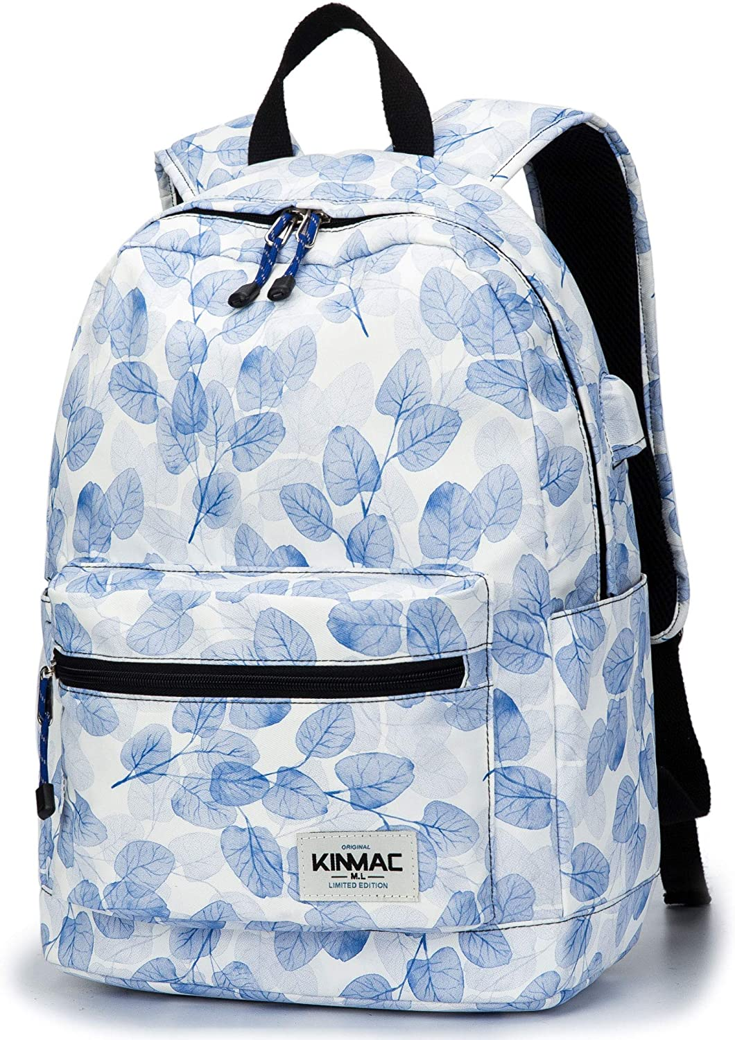 Kinmac Waterproof Laptop Travel Outdoor Backpack with USB Charging Port for 13 inch 14 inch and 15.6 inch Laptop (Blue Leaf)