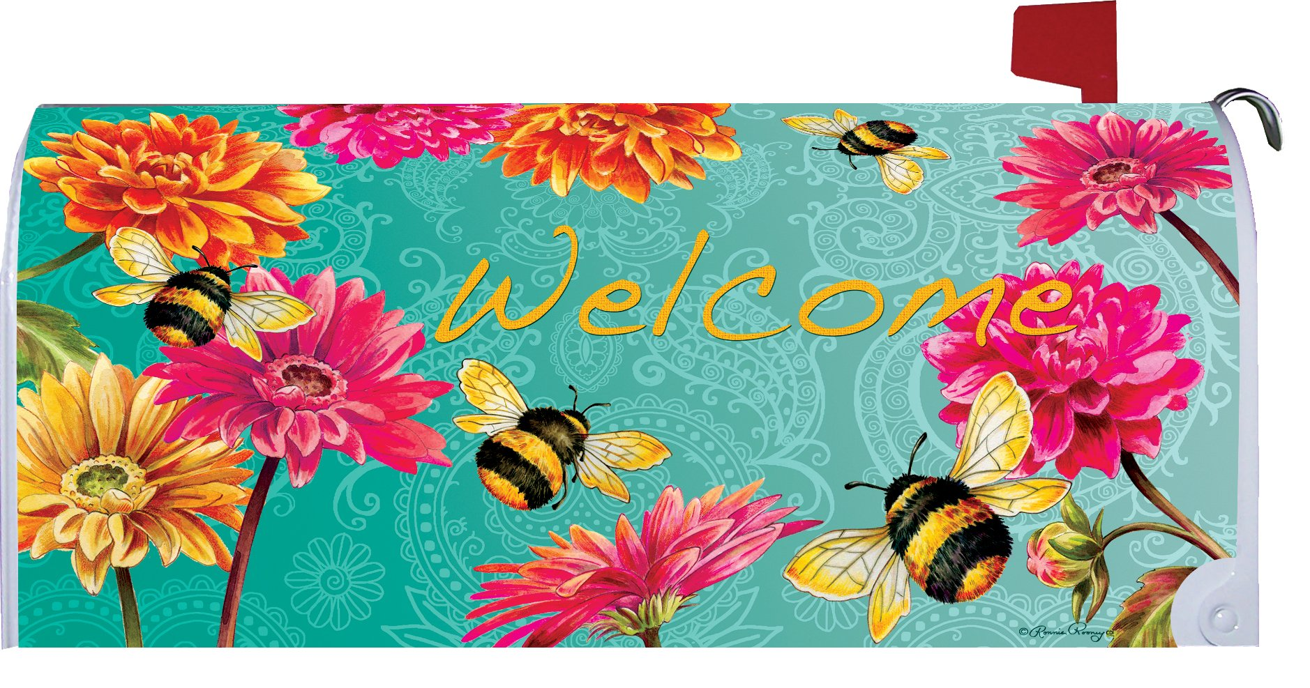 Bumblebees in the Garden - Mailbox Makover Cover - Vinyl witn Magnetic Strips for Steel Standard Rural Mailbox - Copyright, Licensed and Trademarked by Custom Decor Inc. by Custom Decor (Image #1)
