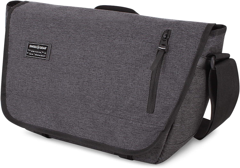 SWISSGEAR Multi-Functional 13-inch Laptop Messenger Bag | Travel, Work, School | Men's and Women's - Heather Gray